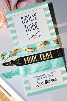 A special gift for your bride tribe. These hair ties are great as gifts or favors for bridal showers, bachelorette parties, or wedding gifts. Perfect for every hair type. Creaseless, wont pull hair. Cute to wear on wrists like a bracelet! Includes: - (1) Personalized card size 6x3 -
