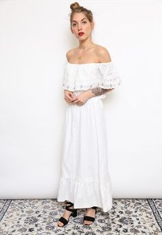 VINTAGE 70S WHITE LACE OFF SHOULDER MAXI DRESS