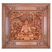 Novica Buddha in the Forest Wood Relief Panel Wall Décor Asian Wall Decor, Balinese Decor, Starburst Wall Decor, Wooden Wall Decor, Wall Sculptures, Hand Carved, Carved Wood, Cool Walls, Wall Signs