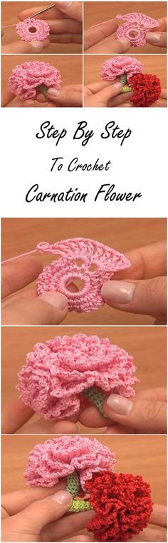 Flower Crochet Tutorial step by step to crochet carnation flowerstep by step to crochet carnation flower Freeform Crochet, Crochet Motif, Crochet Crafts, Thread Crochet, Crochet Yarn, Crochet Projects, Diy Crafts, Crochet Flower Tutorial, Crochet Flower Patterns