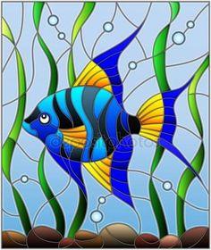 Иллюстрация в витраж стиль синие рыбы скалярных на фоне воды и водорослей Стоковая Иллюстрация