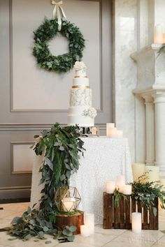 30+ Greenery Wedding Ideas That Are Actually Gorgeous---greenery wreath wedding decorations, greenery wedding food table setting Decoration Buffet, Wedding Cake Table Decorations, Winter Wedding Decorations, Wedding Wreaths, Wedding Themes, Wedding Table, Wedding Flowers, Wedding Cakes, Winter Weddings