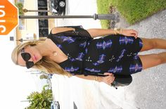 Jen from Belle de Couture in the BB Dakota Celeste dress, vintage YSL bag, and HoH1960 Chelsea sunnies