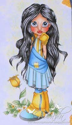 I like the colours used for her hair Her: N9 N7 - N5 N4 N3 B60  Skin: R22 - R20 - E11 - E00 - E000  Yellow: E35 - Y26 - Y17 - Y15 - Y13 - Y11  Mintgroen: C5 - C3 - BG72 - G00 - G000 - BG000  Blue: B37 - B34 - B32 - B00  Green: YG67 YG63 YG61  Background: Y17 - Y13 - BG72