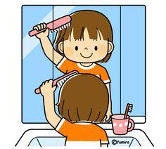 髪の毛をとかす女の子(カラー)