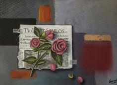 Trampantojo flores / Trompe l´oeil flowers  60 x 40 cm.  Óleo, pan de oro y spray sobre madera.
