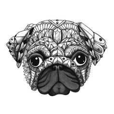 "Ornate Pug from the upcoming ""Decorative Dogs"" coloring book. Get free printable pages to download and color from Color Serenity at www.colorserenity.com! http://www.colorserenity.com"