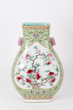 Vintage Chinese Small Porcelain Vase Hand Painted Famille Rose Vase Asian Interiors Chinoiserie  French Studio Vintage Oriental Decor
