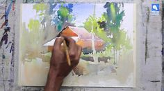 Forest House - by Milind Mulick very informative on technique an thought process Watercolor Landscape Tutorial, Watercolor Video, Watercolor Landscape Paintings, Watercolour Tutorials, Watercolor Techniques, Painting Techniques, Watercolor Paintings, Simple Watercolor, Watercolor Effects