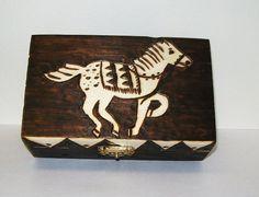 Horse Folk Art Box OOAK Pyrography on Wood by GrayWolfGallery