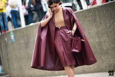 Miroslava Duma #oxblood #leatheroutfit #parisfashionweek