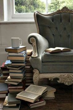 When I saw this, I thought it would make the perfect inspiration for the shoot.... And it is so easy to replicate. Place a relatively neutral chair by a window (an snowy back drop will be awesome). Take the book jackets off of books to reveal their authentic selves. stack them. and, voila!