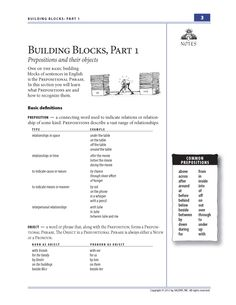 FREE worksheets: This item explains prepositions and prepositional phrases and includes an exercise on prepositions and their objects. Also see the companion poster: Prepositions.