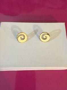 Gold Tone & Cream Enamel Swirl Earrings by Monet
