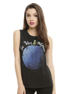 """<p>Sleeveless black top from <i>The Little Prince</i> with french title design featuring the prince standing on his tiny home """"planet,"""" asteroid B-612.</p>  <ul> <li>50% cotton; 50% polyester</li> <li>Wash cold; dry low</li> <li>Imported</li> <li>Listed in junior sizes</li> </ul>"""