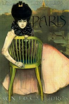 "Not sure if this is a color lithograph or hand-tinted. Advert for Paris cigarettes by artist Ramon Casas. Spanish text reads, ""Paris cigarettes are the best. Vintage Advertisements, Vintage Ads, Vintage Posters, Retro Posters, Art Nouveau, Art Deco, Ramones, Kunst Poster, Spanish Artists"