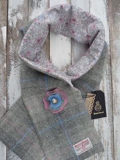 Harris Tweed Scarf & Brooch, Liberty of London Lining, Ladies Scottish Gift Set, Harris Tweed Flower  Brooch Corsage by TheCrimsonCoo on Etsy