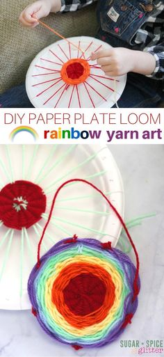 Learn how to make a paper plate loom for this rainbow yarn art project! This DIY loom is perfect for young kids as soon a they know how to tie a knot - a gorgeous rainbow craft idea for kids! #CampArtAndCraft
