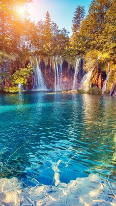 Waterfalls Blue Water and Sunlight Beautiful Nature Wallpaper, Beautiful Landscapes, Landscape Photography, Nature Photography, Image Nature, Beautiful Waterfalls, Beautiful Places To Travel, Fantasy Landscape, Summer Pictures