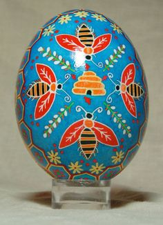 Hand painted goose eggshell - Hived bees and honeycomb goose pysanka on blue, pollinators pysanky - via Etsy Carved Eggs, Easter Egg Designs, Ukrainian Easter Eggs, Arts And Crafts, Diy Crafts, Egg Art, Bees Knees, Egg Decorating, Vintage Easter