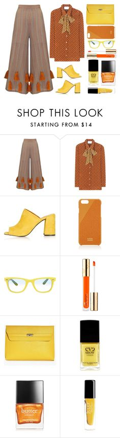 orange by juliehalloran on Polyvore featuring Gucci, Mochi, Topshop, Boohoo, Native Union, Ray-Ban, Bésame, Butter London, Eve Snow and Julep
