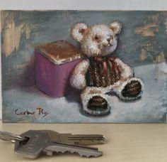 Un pequeño regalo para una niña, rápido trabajo en óleo directamente sobre un marco de metacrilato, en 10 por 15 cm.