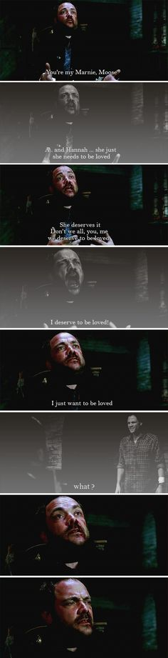 """[SET OF GIFS] """"What?"""" 8x23 Sacrifice  //  I just... this scene. I love Crowley's character and I want so badly for him to be cured. And when he did this, it was just so surprising and weird and utterly heartbreaking that I... I just couldn't even... I didn't know whether to scream or laugh or cry..."""