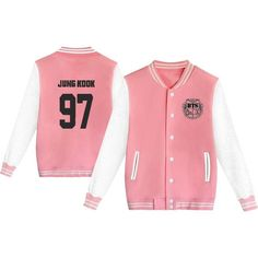 KPOP BTS Varsity Baseball Jacket Monster JIN SUGA JIMIN V Sweater ($20) ❤ liked on Polyvore featuring tops, sweaters, red sweater and red top