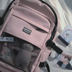 Cute Backpacks, School Backpacks, College Bags For Girls, Stylish School Bags, Uni Bag, Bts Army Bomb, Cool School Supplies, Striped Backpack, What In My Bag