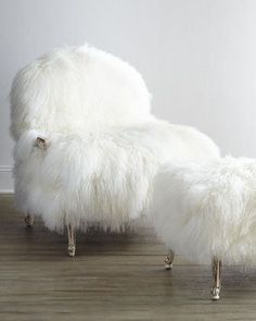 Worthen Sheepskin Chair and Ottoman.