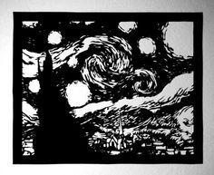 Starry Night paper cutting - Van Gogh