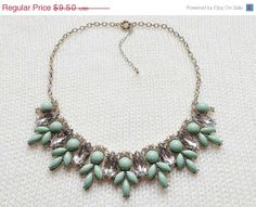 Turquoise Crystal Statement Necklace Bib Necklace by Necklace2014, $8.55