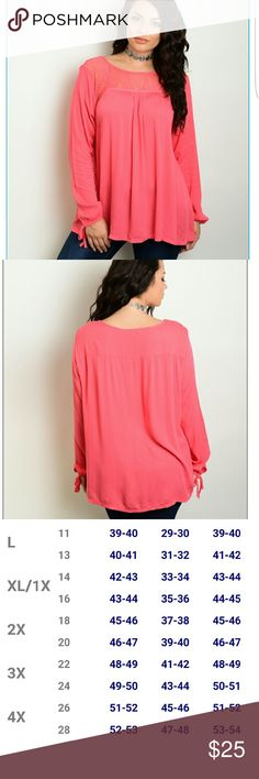 Coral long sleeve blouse True to color! Sizing (Xl16)(2x 18)(3x 20) Tops Blouses