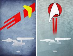 Superb Posters Honor Film's Most Iconic Cars, Spacecraft, and Flying Bison   Twin USS Enterprises: one from the original Star Trek series, and one from J.J. Abrams' cinematic reboot.  Kevin Henry    WIRED.com
