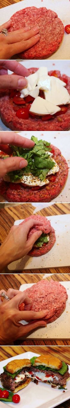 easy to make stuffed hamburger that tastes great!  A little chopped tomato, some cheese, basil leaves, hey.....go for it!!!  YUM