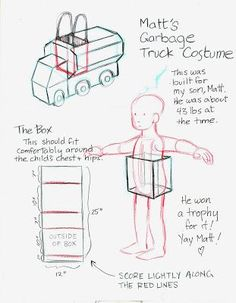to Skin a Squirrel: Garbage Truck Costume How-To Homemade Halloween Costumes, Family Halloween Costumes, Holidays Halloween, Halloween Kids, Halloween Party, Halloween 2018, Halloween Stuff, Toddler Costumes, Boy Costumes
