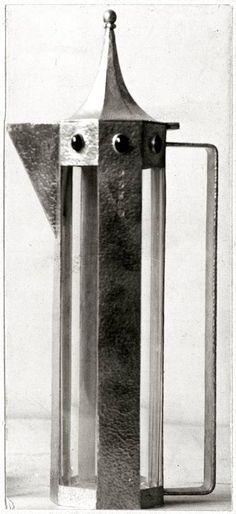 JOSEF HOFFMANN Carafe, 1903-1904, silver, glass, cabochons