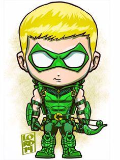 Chibi green arrow by lordmesa Chibi Marvel, Marvel Dc Comics, Lord Mesa Art, Minions, Team Arrow, Supergirl And Flash, New 52, Dc Comics Characters, Green Arrow