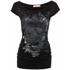Krisp T Shirt Col Bateau Imprimé Rock Tête De Mort Crane Floral