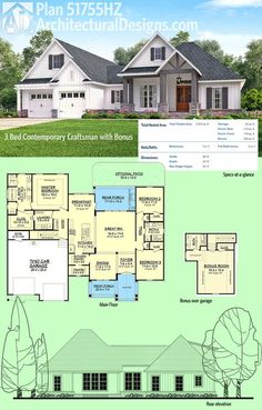Architectural Designs House Plan 51755HZ is a 3 bed contemporary Craftsman design with a bonus room with bath over the garage, giving you the flexibility to get 4 beds if needed. Ready when you are. Where do YOU want to build?