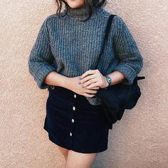 Black button up skirt & oversized jumper