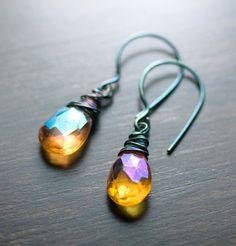 Mandarin Orange Mystic Quartz Earrings