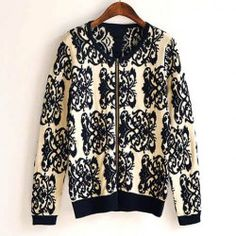 $16.21 Blue And White Porcelain Pattern Cotton Blend Color Matching Cardigan For Women