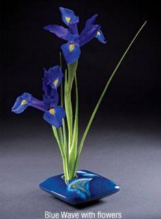 Georgetown Pottery Square Ikebana Flower Vase, Peacock