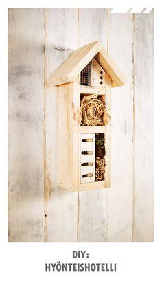 Nikkaroi puutarhan hyödyllisille ötököille hyönteishotelli. Sen voi täyttää erilaisilla luonnosta löytyvillä materiaaleilla. Katso helpot ohjeet ja tee oma hyönteishotelli! Diy Projects To Try, Bird, Outdoor Decor, Outdoors, Home Decor, Garden, Decoration Home, Garten, Room Decor