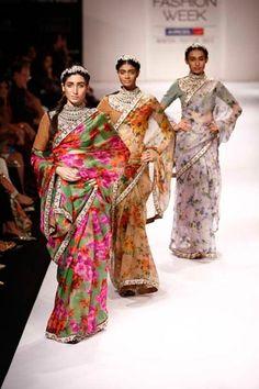 Sabyasachi Mukherjee AW 11 collection of sarees. To view, visit: http://www.vogue.in/content/25-saris-stylish-wedding-season#8