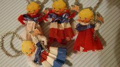Set of 4 Vintage Style Chenille Kewpie Patriotic by MoosMenagere