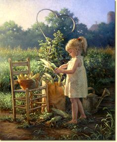 Aimee Cleaning Corn --and more wonderful artwork by Corbert Gauthier at http://corbertgauthier.net/gallery%20II_07.html
