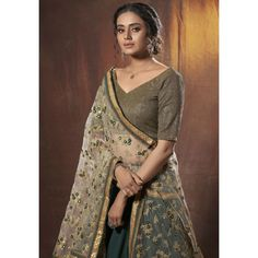 Green lycra georgette zari sequence thread work Georgette Fabric, Green Lehenga, Silk Lehenga, Wedding Lehenga Online, Party Wear Indian Dresses, Wedding Wear, Wedding Attire, Green Fashion