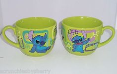 Disney Store Stitch Lime Green Blue Coffee Mug NEW